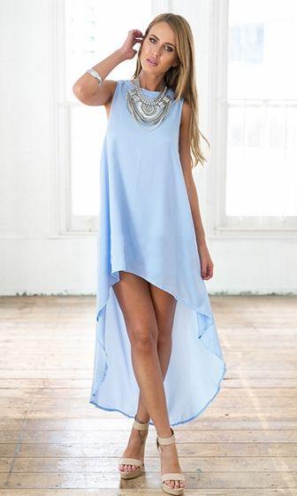 New Attitude Baby Blue Sleeveless Crew Neck Loose High Low Asymmetric Mini Maxi Dress