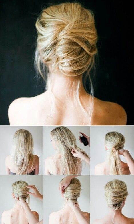 Messy elegant bun hairstyle