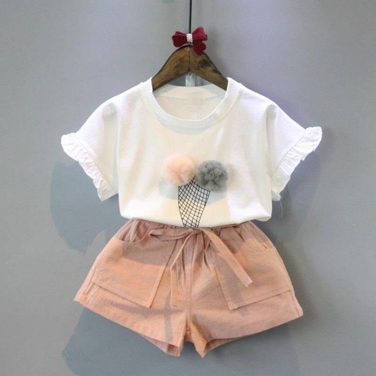 Ice Cream Cone Short Sleeve T-shirt+Double Pocket Pants 2Pcs Size 2-6