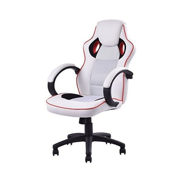 Homall Executive Swivel Leather Gaming Chair, Racing Style High-back... ❤ liked on Polyvore featuring home, furniture, chairs, office chairs, executive chair, leather office chair, white leather office chair, leather executive chair and white leather desk chair