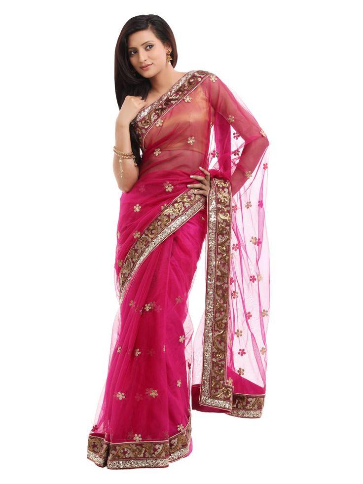 Satyavee Designs Pink Saree | Myntra | Leotards | Pinterest