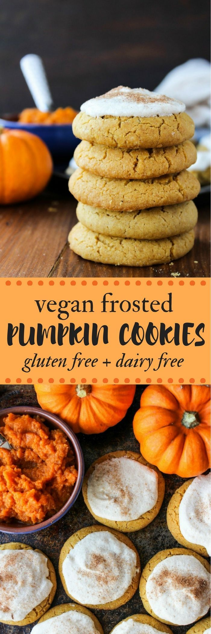 Simple frosted vegan pumpkin cookies: made with one bowl in under an hour | Gluten Free + Dairy Free