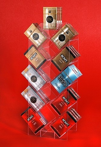 This clear acrylic tobacco/cigarette box display stand display tobaccos in the market. Any products made with rectangle box can choose choose this stand to promote, like candy/biscuit/books. There are 11 rectangle holders, each holder can put 3-6pcs tobacco/cigarette, very convenient to put in the market, saving space, inexpensive.