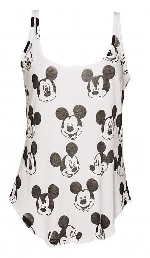 Ladies White #Retro #Mickey Mouse Pattern #Vest from Junk Food xoxo