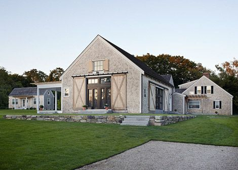 check out those barn doors.  well done, cape cod retreat.  well done.