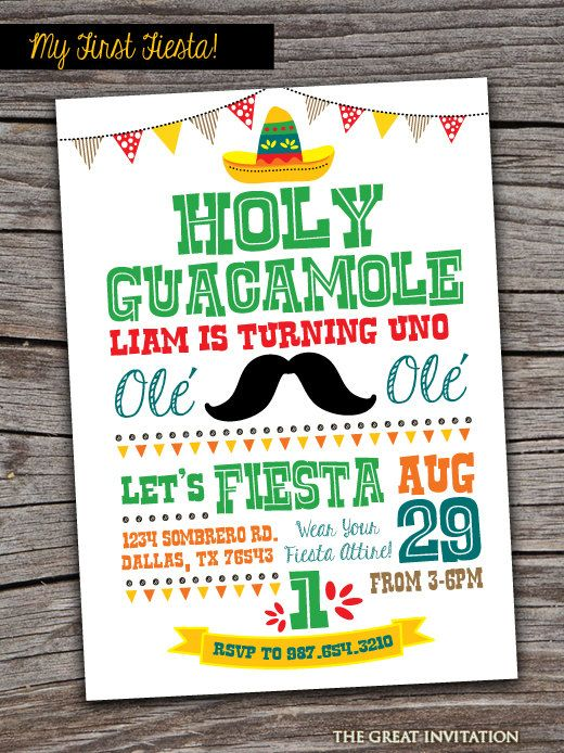 Fiesta Invitation/ Fiesta Invite/ First Fiesta Birthday/ Holy Guacamole Invite/ Fiesta Party Invite/ First Birthday Invite