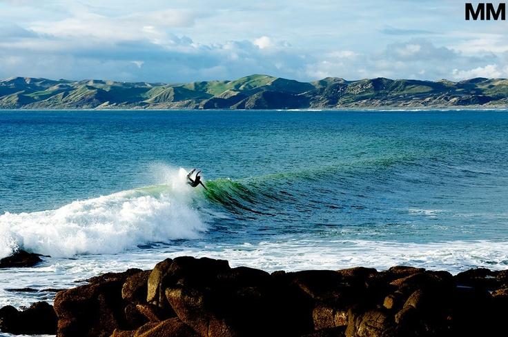 Morgan Maassen photo of Brandon Smith, carving his way through Raglan, New Zealand.