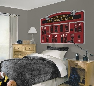 Football Scoreboard Personalized Mural Red