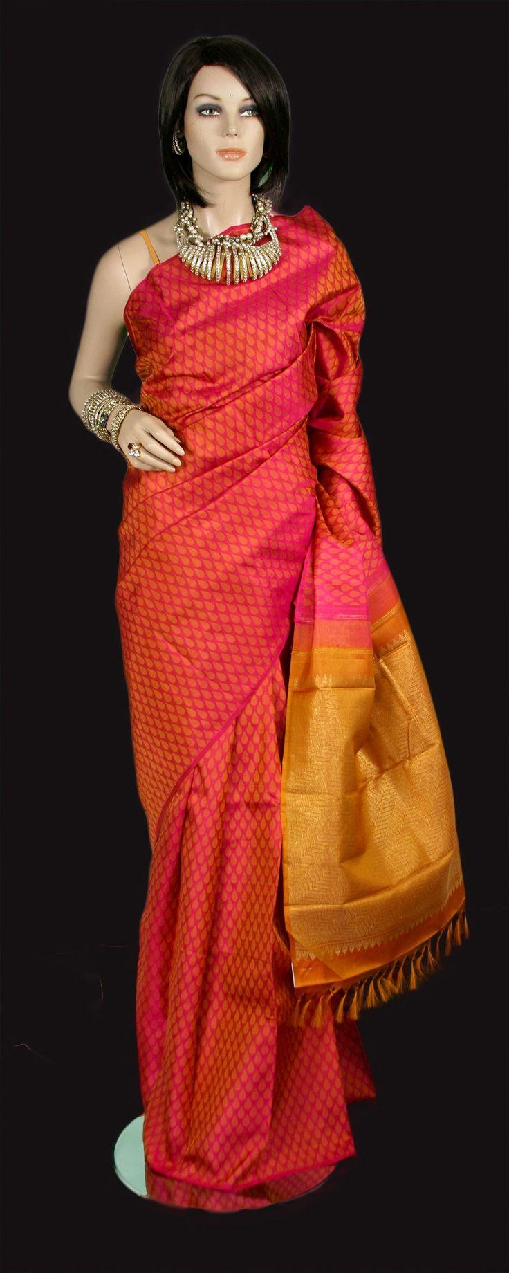 kanjeevaram pink and mustard silk saree