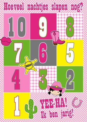 Cowgirl - cowboy - aftelkalender kaart - aftellen - Verjaardagskaarten - Kaartje2go - gefeliciteerd - verjaardag - kaarten - roze - cactus - hoefijzer - ruitjes - kus - Esther van Gijn