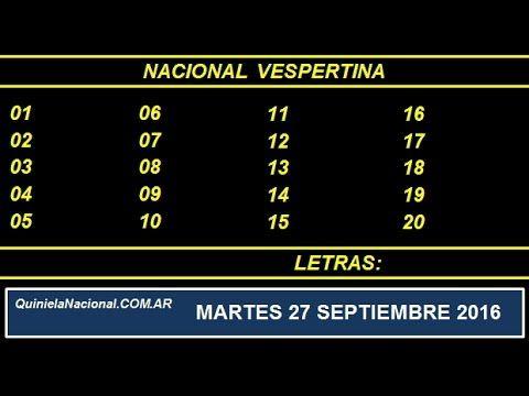 Video Quiniela Nacional Vespertina Martes 27 de Septiembre de 2016 Pizarra del sorteo desarrollado en el recinto de Loteria Nacional a las 17:30