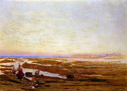 Marée basse sur la côte sud, près de Brighton de Albert Goodwin (1845-1932, United Kingdom)
