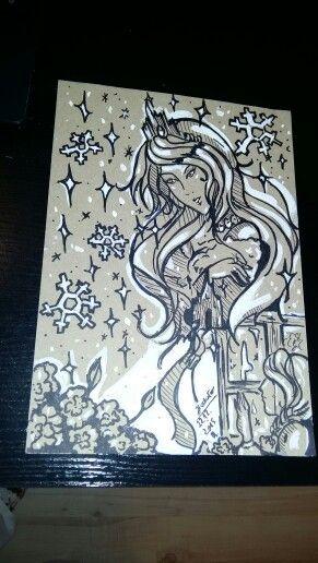 "my idea of a fairy tale under tyłułam ""The Snow Queen ,, Figure wykoanany marker and white farbka. (●´∀`●)"