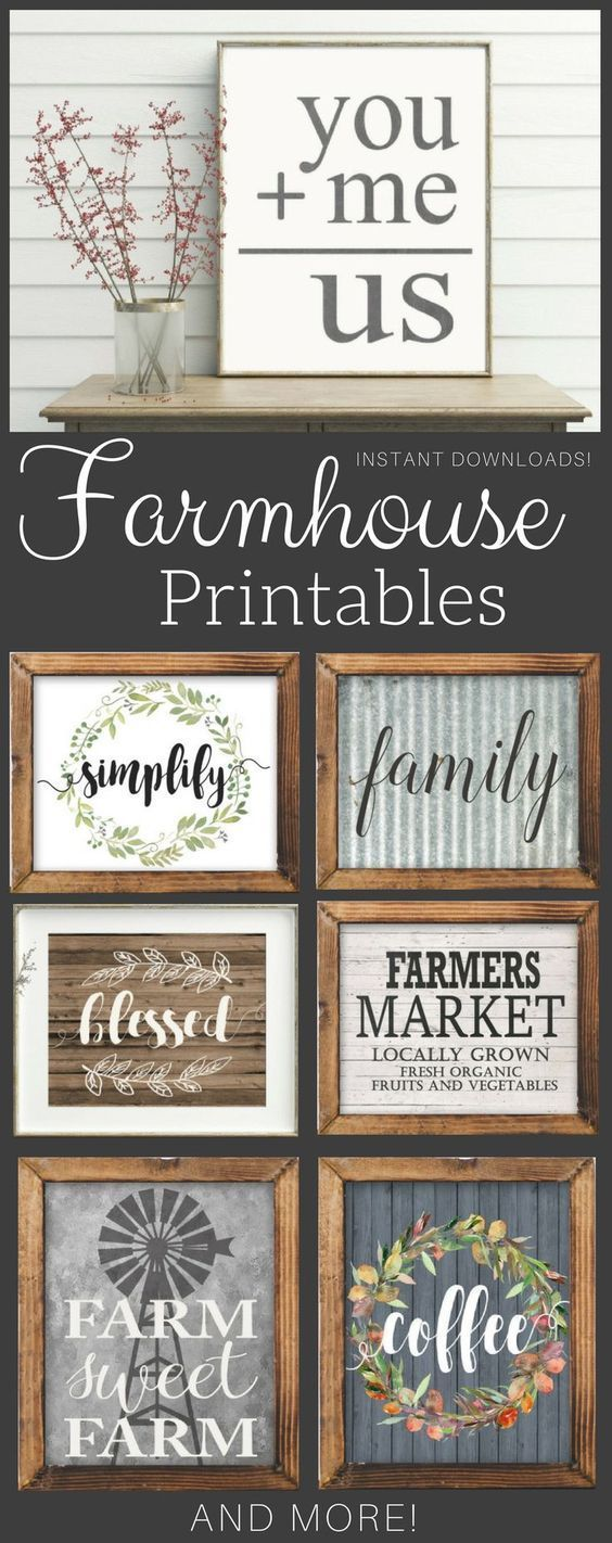 Fixer Upper style prints perfect for a gallery wall or farmhouse kitchen! #farmhouse #printable #sign #rustic #gallerywall #artwork #wallart #shiplap #rusticdecor #farmhousestyle #affiliate