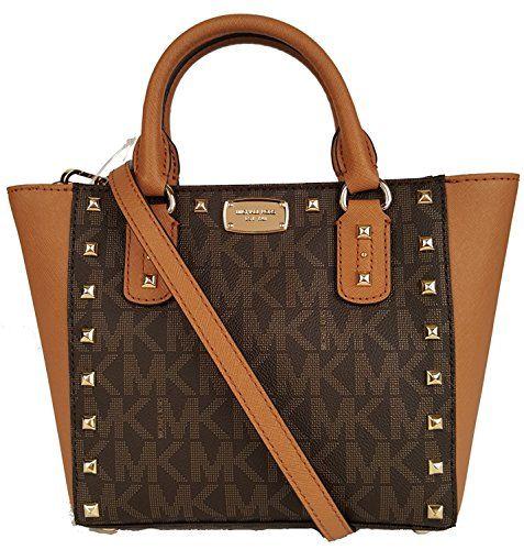 c9a82675b6ae awesome Michael Kors Sandrine Stud Acorn Small Crossbody Leather Handbag  Vanilla