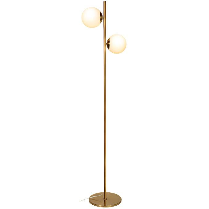 Brightech Sphere Led Floor Lamp Contemporary Modern Frosted Glass Globe Lamp With Two Lights Tall Pole St Contemporary Floor Lamps Globe Lamps Led Floor Lamp