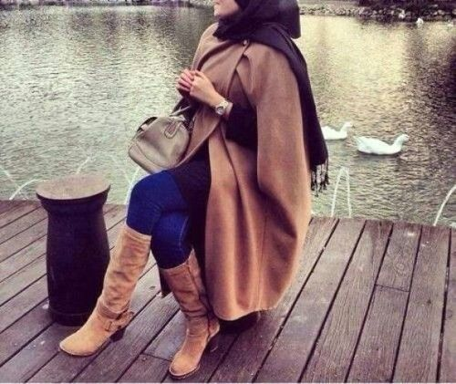 chic hijab in tan outfit