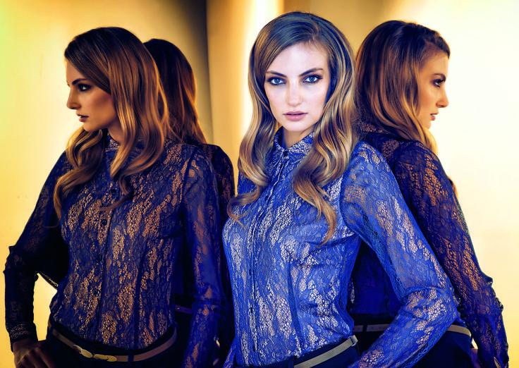 #prettyonewarsaw   Kolekcja Autumn Winter 2014/15 koronkowa granatowa koszula