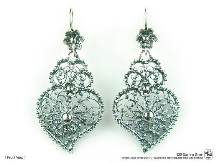 Portuguese Filigree EARRINGS Heart Fidalga Viana Traditional in 925 Sterling Silver by NadirFiligree on Etsy