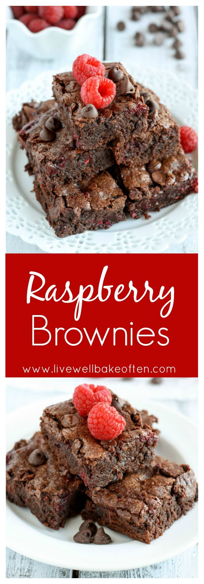 An easy and fudgy one bowl brownie recipe filled with fresh raspberries and chocolate!