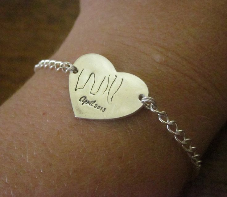 Child Handwriting Heart Bracelet Made from YOUR CHILDS handwriting - Fine Silver- Custom and Personalized. Mother's Day Gift