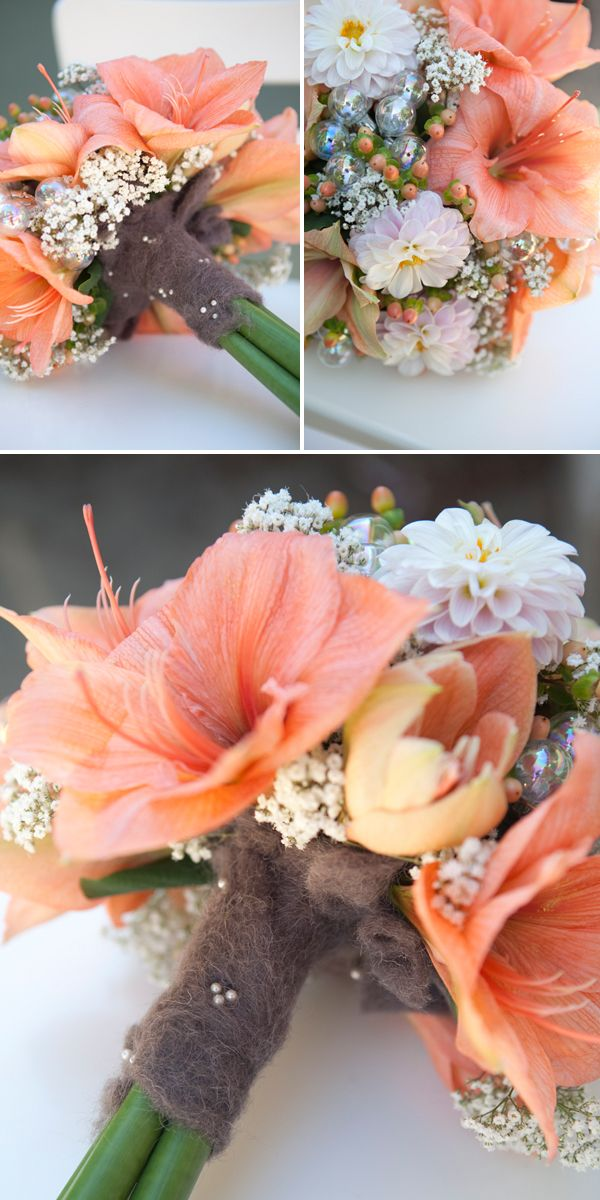 #BouquetBlueprint ~ Winter Peach and Wool themed bouquet #somethingturquoise #winterwedding