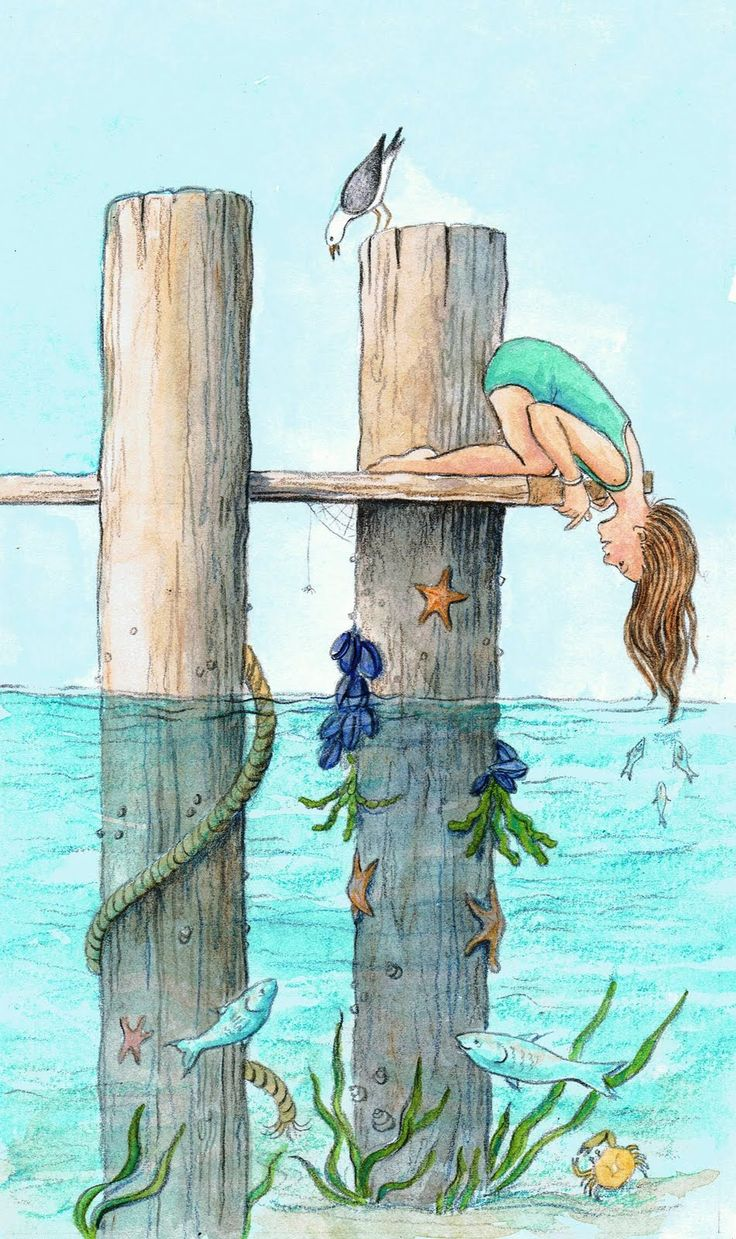 Beneath the Pier Jane Grant Tentas http://justpencilonpaper.blogspot.com/2010/10/illustration-friday-beneath.html