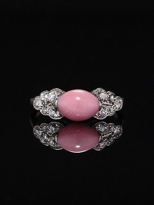 GENUINE RARE ART DECO NATURAL PINK CONCH PEARL AND DIAMOND PLATINUM RING