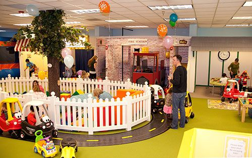 LOVE this play area. The road around the fenced in baby area all inside a toddler play area- perfect!