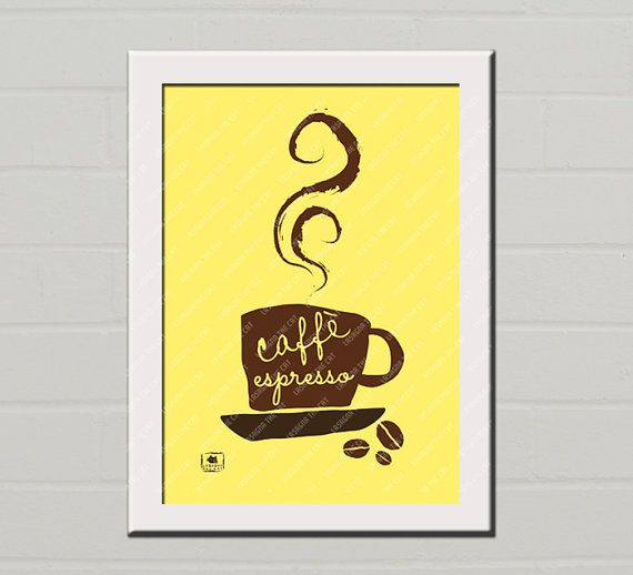 NEW: #DIY posters! You purchase the listing and print as many copies you want  NUOVA SERIE: I poster fai da te! Acquisti il file, stampi quante copie vuoi   INSTANT #DOWNLOAD. A4 #Poster, #caffe #espresso, #yellow #brown, Art, Wall Hanging, #Kitchen #decor, #Gift #etsy @Etsy by #lasagnathecat  DOWNLOAD ISTANTANEO. #Poster A4, #caffe #espresso #giallo #marrone, Arte da appendere, #Decorazione muro, Idea #regalo #etsy @Etsy by #lasagnathecat