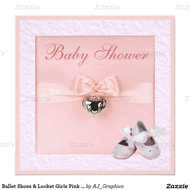 ballet shoes u0026 locket girls pink baby shower 525x525 square paper invitation card