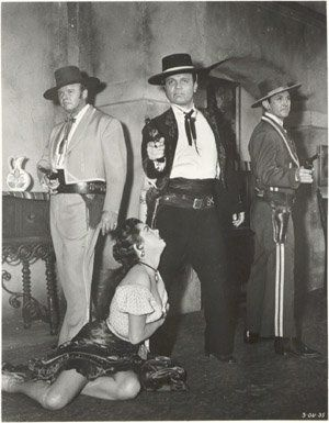 JEANNE CARMEN, ALAN HALE JR, NEVILLE BRAND, ROBERT CHRISTOPHER on the set of THE 3 OUTLAWS