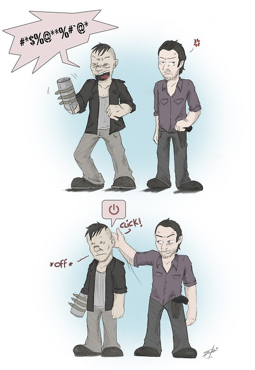 Rick & Merle. Forget Daryl and his crossbow, Rick pistol whipping Merle was my favorite scene!
