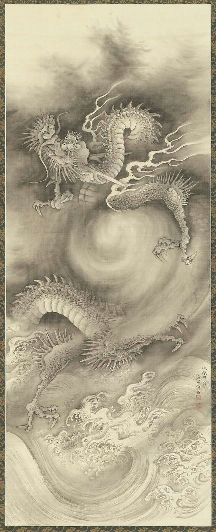 Dragons 1   雲龍図 (Hanging scroll; ink on silk) by NAKABAYASHI Chikutō(中林 竹洞 Japanese, 1776-1853)