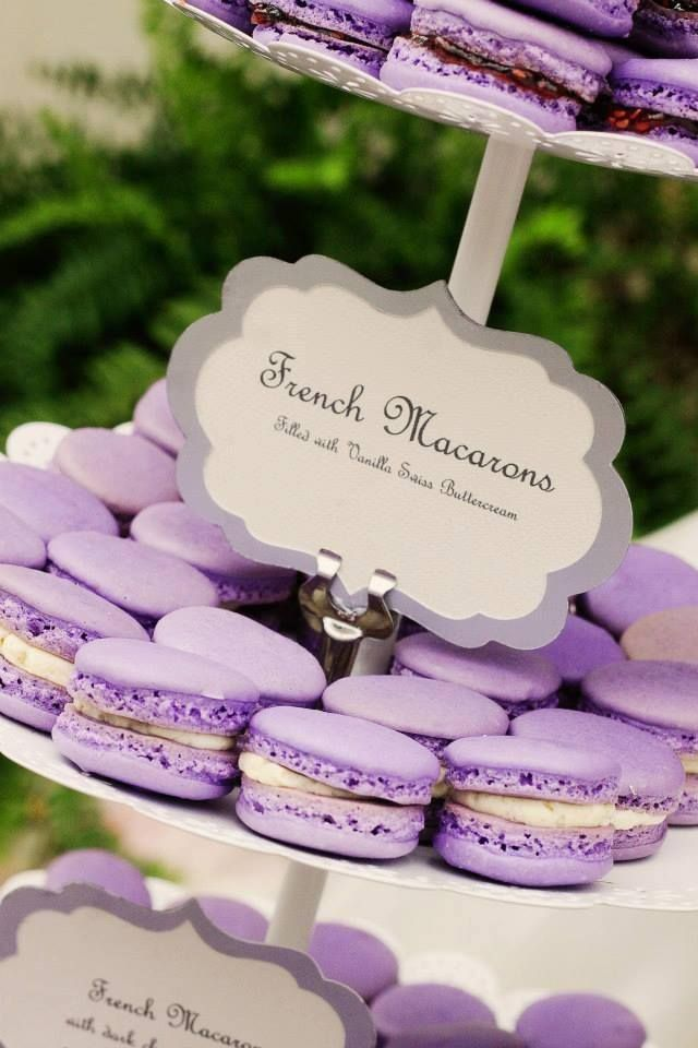 Lavender macarons. Not to be confused with macaroons!   http://en.wikipedia.org/wiki/Macaron
