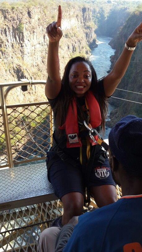 Bungee Jumping of a brave lady at Vic Falls