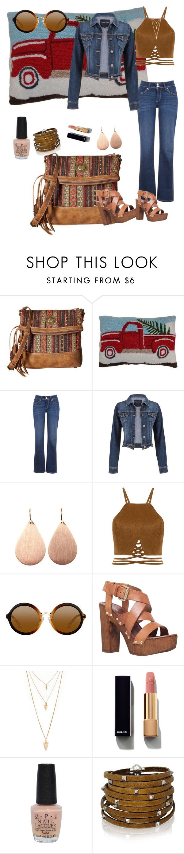 """""""Runnin Down the Road"""" by klm62 ❤ liked on Polyvore featuring American West, St. Nicholas Square, Levi's, maurices, Irene Neuwirth, Carvela, Forever 21, Chanel, OPI and Sif Jakobs Jewellery"""