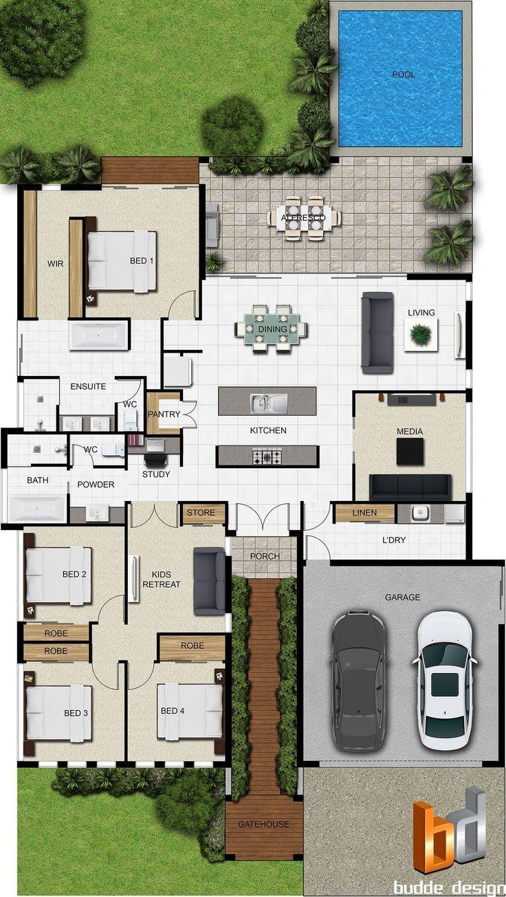 Pinterest: @claudiagabg | Casa 4 cuartos 1 estudio abierto piscina