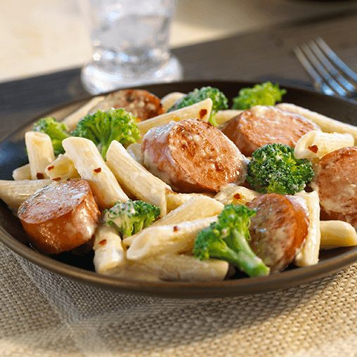 Sausage and Pasta Saute - Slowly sautee Hillshire Farm<sup>®</sup> Smoked Sausage, pasta, broccoli, parmesan cheese and cream for this perfect comfort dinner.