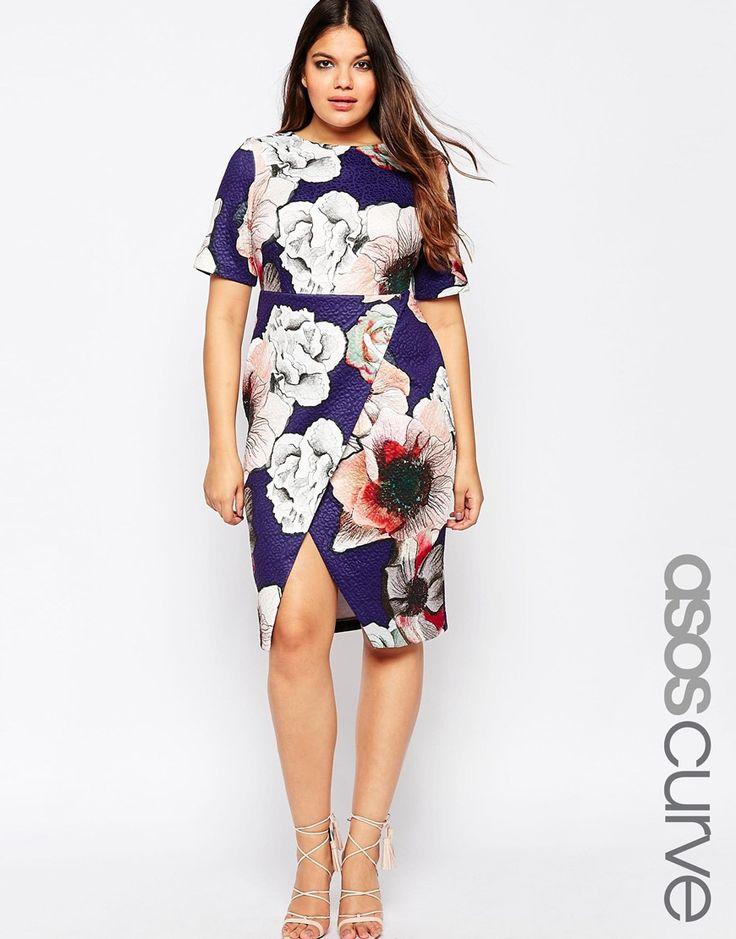 Image 1 - ASOS CURVE - Robe fourreau texturée avec jupe portefeuille et imprimé aquarelle
