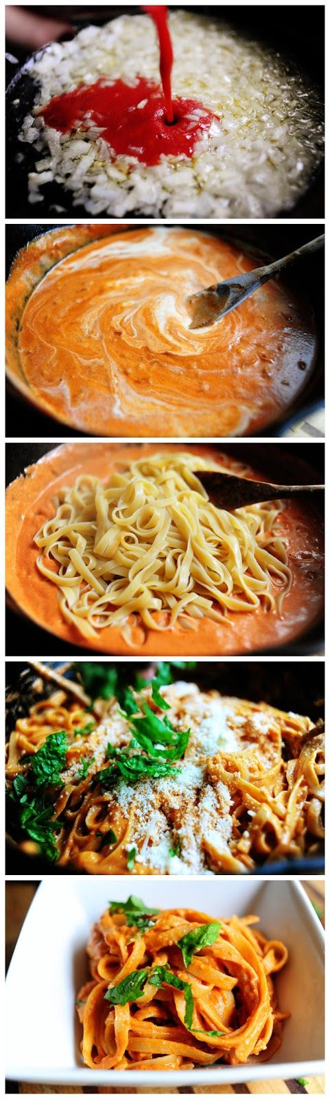 Pasta with Tomato Cream Sauce. Super easy!