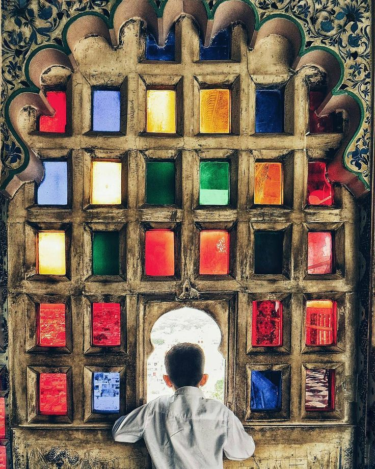 Multicolor Window, Udaipur City Palace, India
