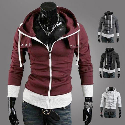 Men coat inspiration spell color hooded cardigan cashmere hoodie to thickening