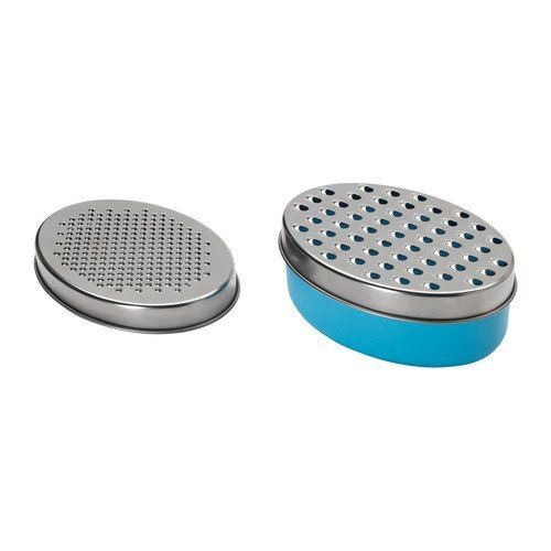 2 x Cheese / Vegetable Stainless Steel Grater With Airtight Storage Box & Lid (L: 17cm, W: 12cm, H: 7cm) - Stainless Steel / Blue Kitchen Utensil http://www.amazon.co.uk/dp/B0080VMHO8/ref=cm_sw_r_pi_dp_b5Gnwb0RA7XP0