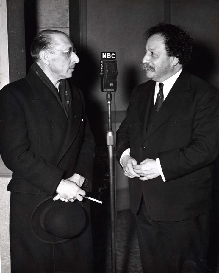 "Pierre Monteux (R) with Igor Stravinsky.  It was Monteux who conducted the notorious premiere of Stravinsky's ""The Rite of Spring"" in Paris, 1913."