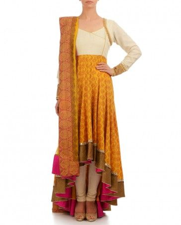 Cream Yellow Anarkali with Printed Motif- Buy Suits,Ekru Online | Exclusively.in