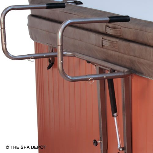 The heavy-duty Cover Captain Spa Cover Lifter is ideal for most hot tubs. No drilling of spa cabinet because this lift has a slide-under plate to keep it securely in place. Unlike others with center cross bar, the Cover Captain's cradle places zero stress on spa cover hinge! Easily adjusts to hot tub cover thickness and spa height. Installs easily in minutes.