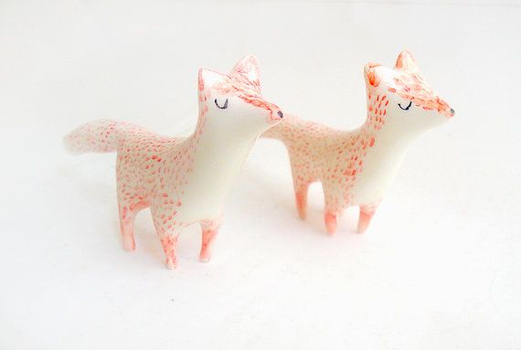 Little Ceramic Miniature in White Clay and Red Fox by Barruntando