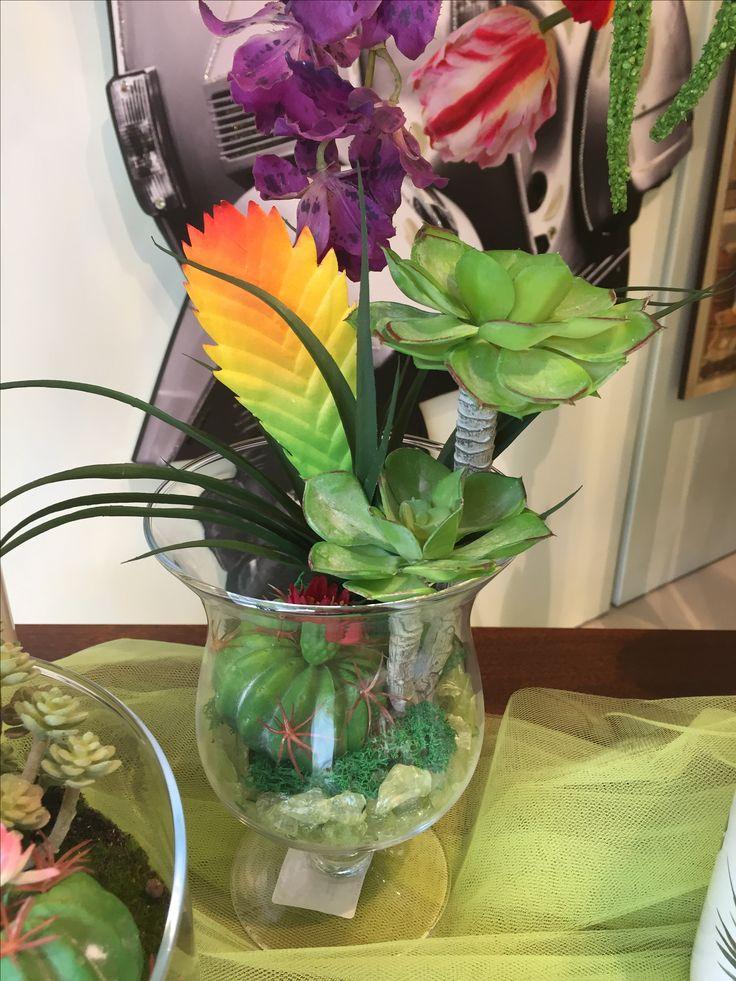 Composizione di piante grasse in maxi bicchiere  Www.elisa-regali.it