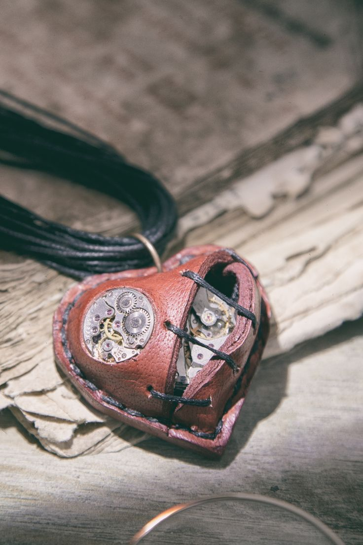 Red broken heart necklace Stitched Heart Steampunk